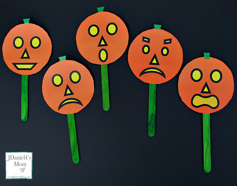 Five Little Pumpkins Social Skills Activities- A set of pumpkins and emotion cards are free to download. An original rhyme about five little pumpkins and feeling is shared in this post. This picture share feeling pumpkins as puppets.