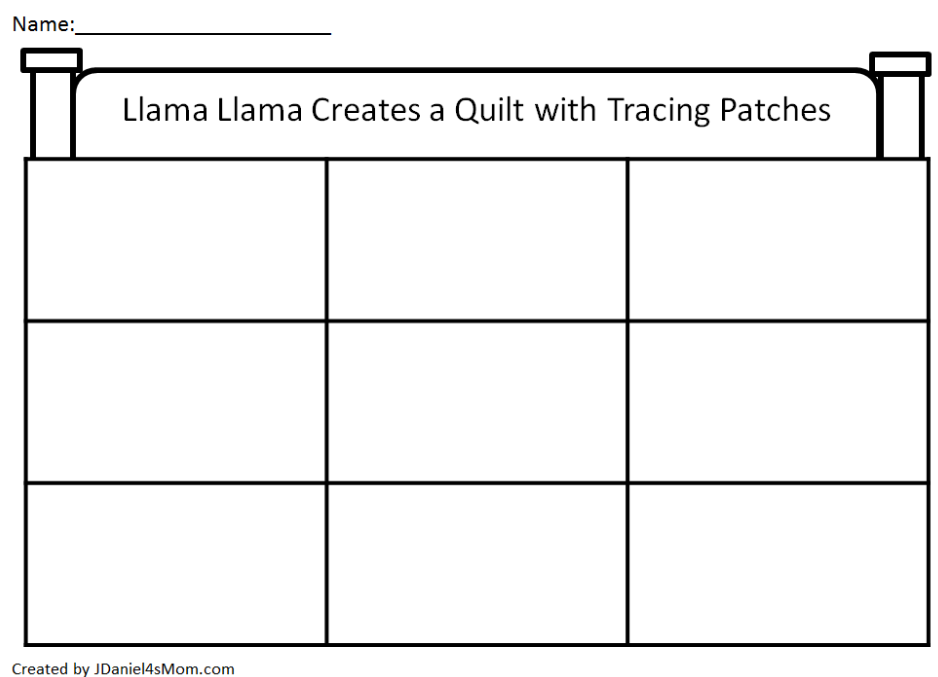 Llama Llama Create a Quilt with Tracing Patches Activity - Quilt Printable