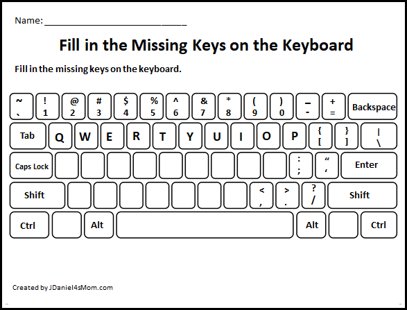 Learning the Computer Keyboard Layout - Fill in the Missing Letters Worksheets for Older Kids