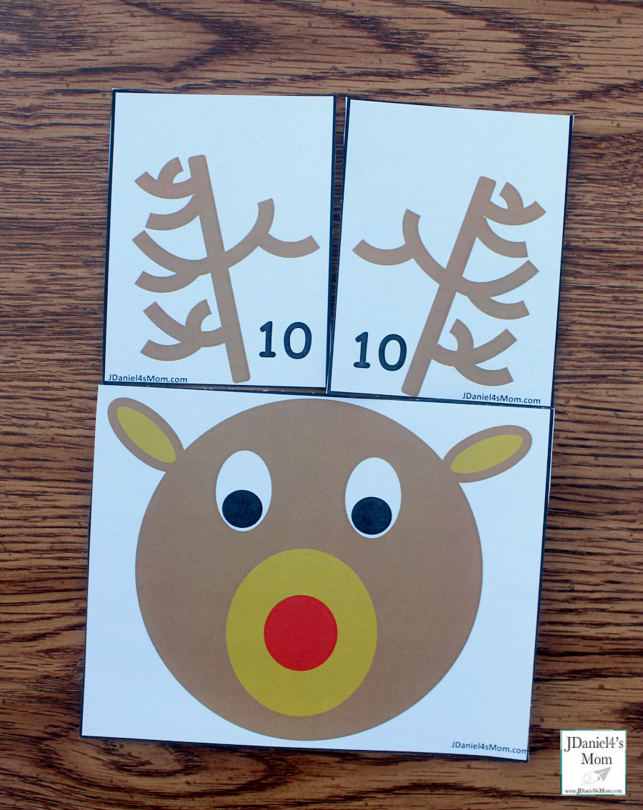 Reindeer Antlers Number Recongition - Students at school or children at home can work on number recognition and counting skills using this free printable set. It includes reindeer counting heads and ten pairs of antlers. Each anter card displays a number in antler points and number form. Children will have fun changing the number o antlers on their reindeer. This pair explores the number ten.