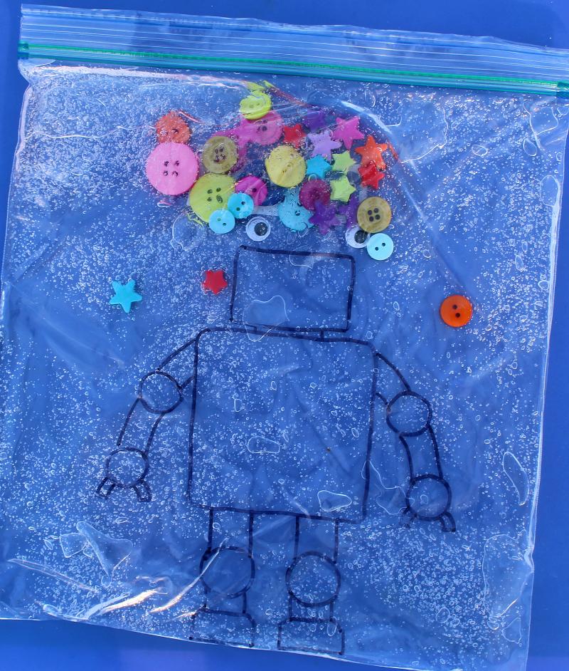 Decorating Robots Sensory Bags