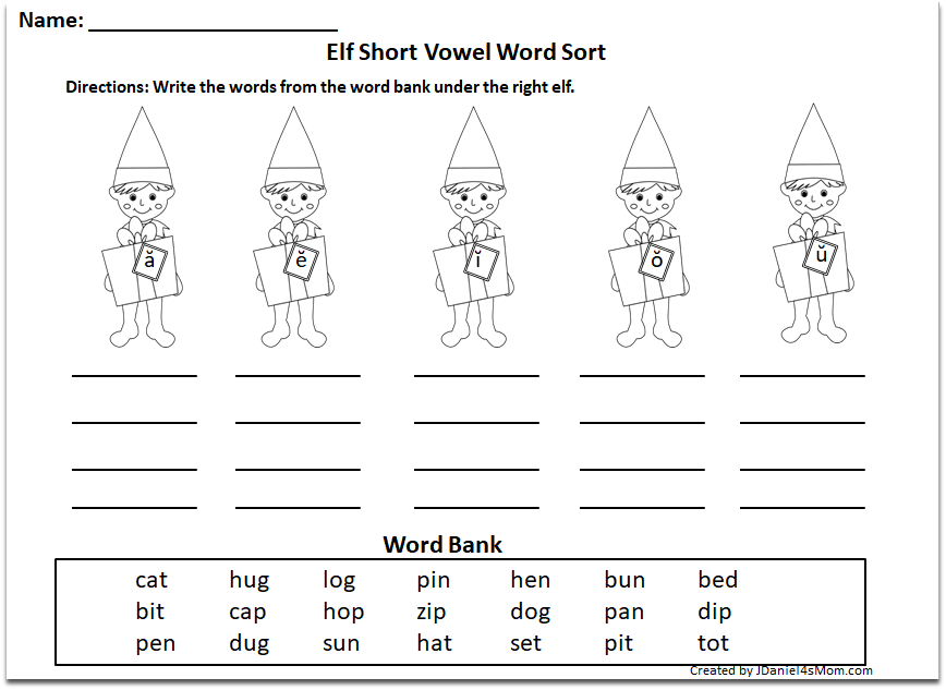 Elf on the Shelf Long and Short Vowel Word Sorts - Short Vowel Sort