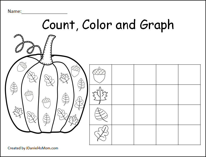 Count, Color and Graph Pumpkin Sheets- This is a set of free graphing sheets featuring fall leaves and acorns. This is a picture of the simple graph.
