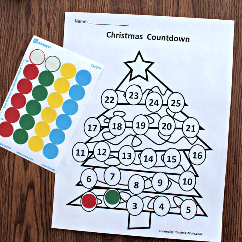 Christmas Countdown Calendar and Activity Set - Colored with Stickers
