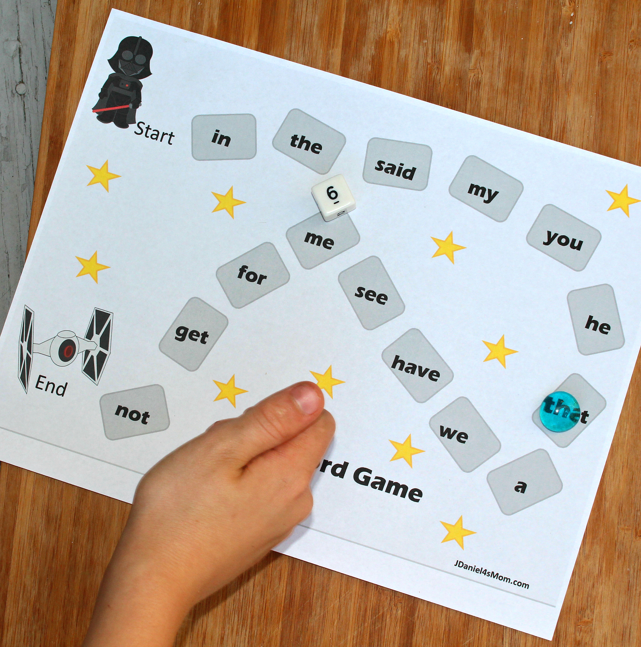 Top 50 Star Wars Crafts, Activities, Workbooks, Worksheets to entertain your family, featured by top US Disney Blogger, Marcie and the Mouse: Editable Sight Word Game with a Star Wars Theme - Playing the Game