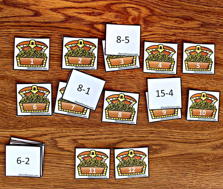 Subtraction Worksheets Used to Play Treasure Chest Match - Find the numbers to solve the equations.