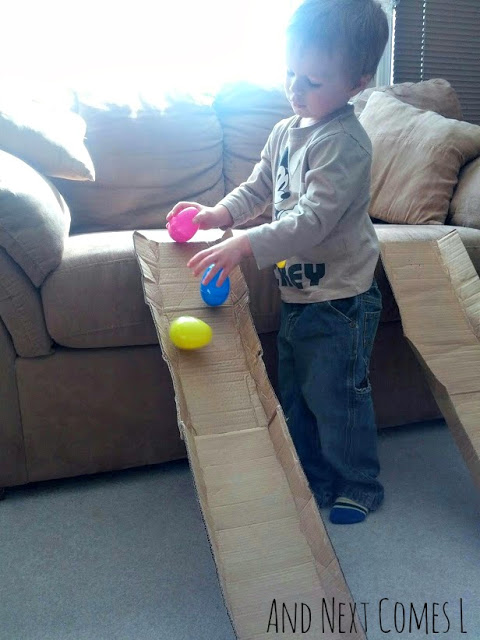 STEM Activities with Plastic Eggs - Wobbly Eggs on a Ramp